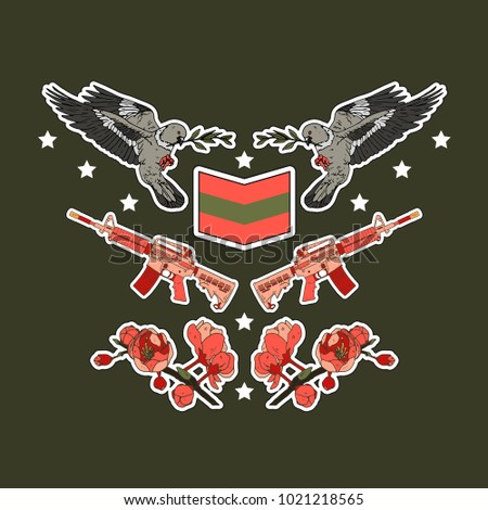 military patch badges with...