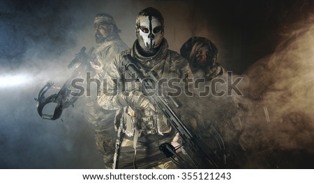 Military people are standing with crossbows. Fantasy. The post  #355121243