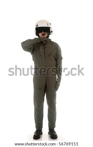 Military pilot with white helmet marshaling aircraft on a white background