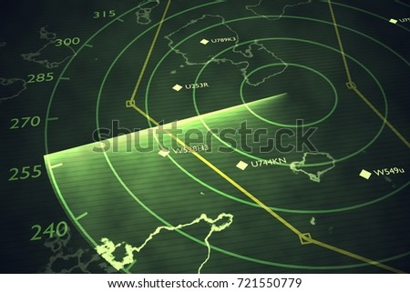 Military radar screen is scanning air traffic. 3D rendered illustration.