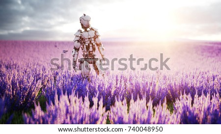 Military robot, cyborg with gun in lavender field. concept of the future. 3d rendering. #740048950