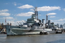Military ship on river Thames in London