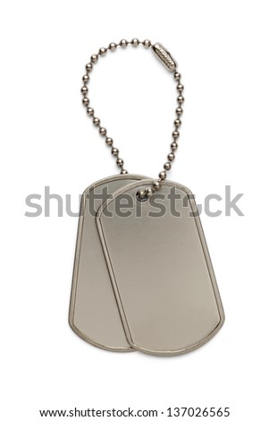 Military Silver Dog Tags on a Small Key Chain Isolated on White Background.
