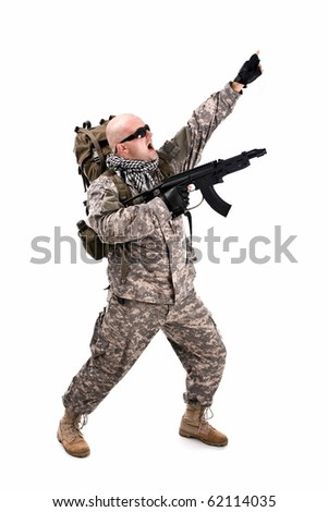 military soldier about to shoot