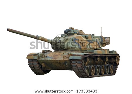 Military Tank on White Background
