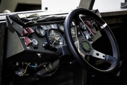 Military vehicle. Army Jeep Interior detail.  Interior Design, Steering Wheel and Dashboard