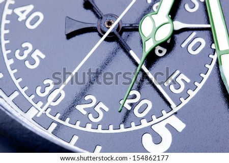 Military vintage stopwatch clock face close up.
