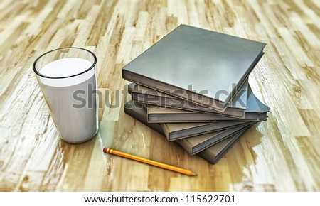 milk and books on wooden parquet