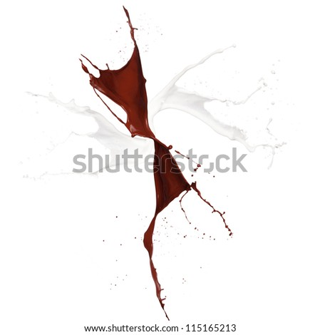Milk and chocolate splash, isolated on white background