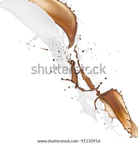 Milk and chocolate splash over white background