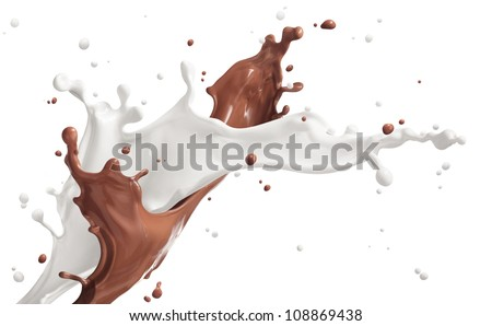 milk and chocolate splashing isolated on white
