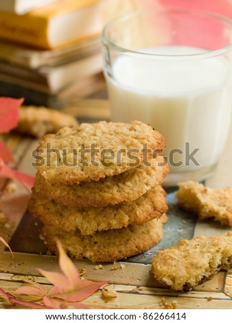 Milk and oat cookie for kids. Selective focus