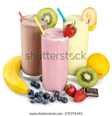 Milk, banana, drink.