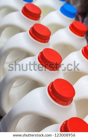milk bottle in a row in the market