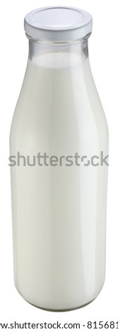 Milk bottle isolated on a white background. File contains clipping pathes.
