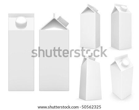 milk boxes isolated over a white background - stock photo