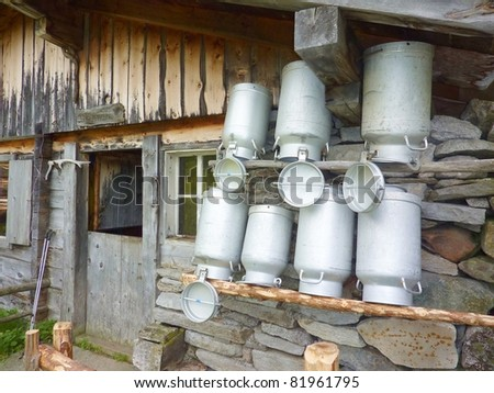 Milk cans at the hut