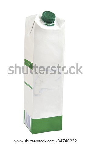 Milk carton isolated over white with clipping path and space for text.