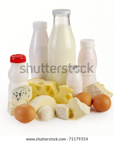 Milk cheese yogurt and eggs on a white background