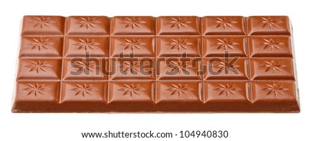 Milk chocolate bar isolated on white background.
