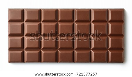 Milk chocolate bar isolated on white background from top view #721577257