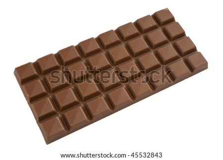 Milk chocolate bar isolated over a white background.