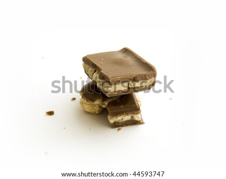 Milk chocolate on white background