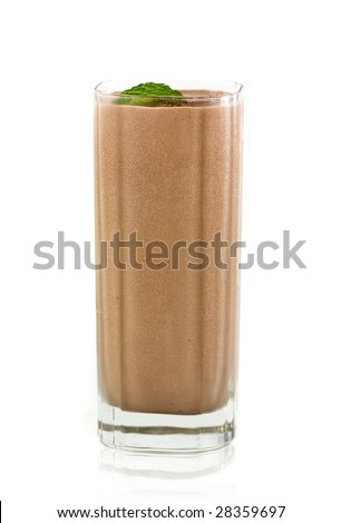 milk chocolate shake on white background