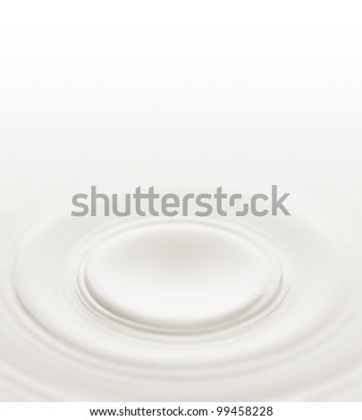 Milk. Circles on the surface of the milk