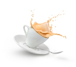 milk coffee splash in white cup isolated