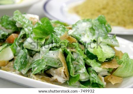 Milk curd salad with toasted crispy slices