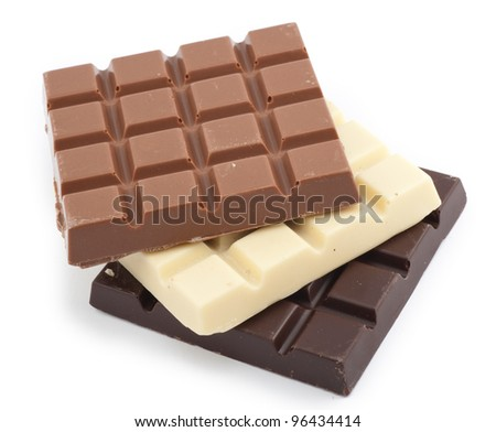 milk, dark and white chocolate bars