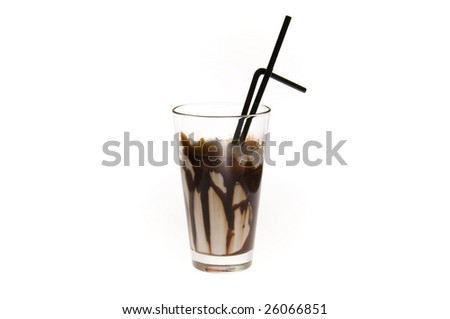 milk drink with chocolate and drinking straw