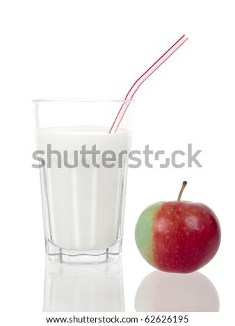 Milk glass and red apple on pure white background - stock photo