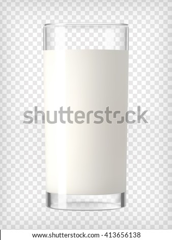 Milk in a glass. Healthy diet. Clean eating.Tall glass with beverage. Breakfast, protein rich dairy product. Transparent photo realistic vector illustration. #413656138