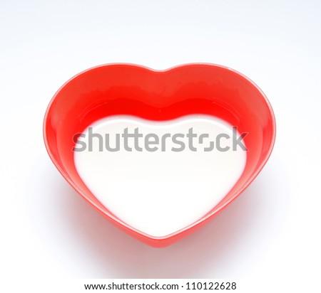 Milk in red bowl shape heart,Milk bowl for lovers