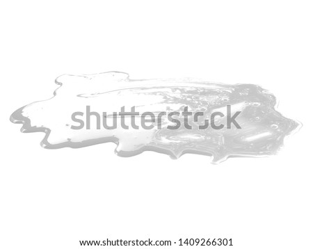 Milk on white background. Spilled milk puddle isolated on white background. Texture of spilled milk.