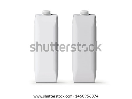 Milk or juice carton packages isolated on a background. Clean empty carton 1,0 liters for new design. Mock-up white pack of juice, yogurt or milk with drinking straw. 3D rendering