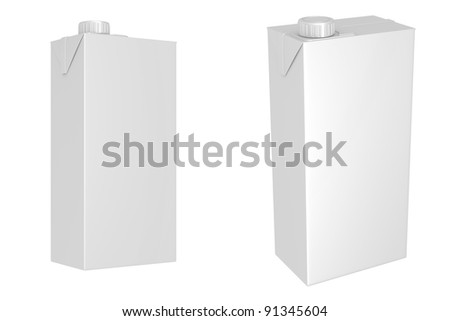 Milk or juice carton packages isolated on white background, 3d illustration
