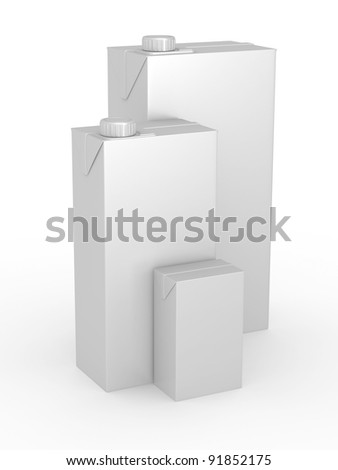Milk or juice carton packages on white background, 3d illustration