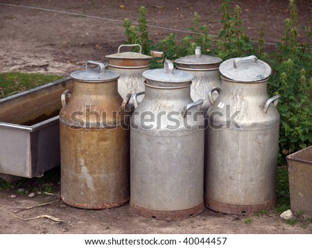 Milk organic traditional cans jugs in a dairy farm