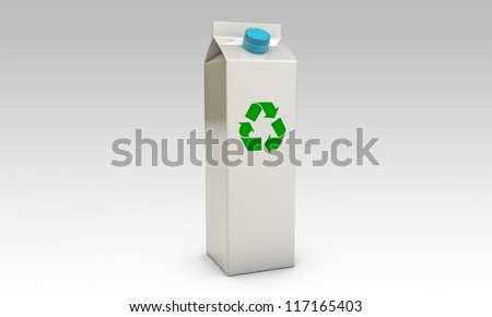 milk packages with blue cap and recycle symbol isolated on black background