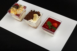 Milk panna cotta with forest fruits. Panna cotta with different flavors. Panna cotta on a flat plate, on a white background. Panna cotta.