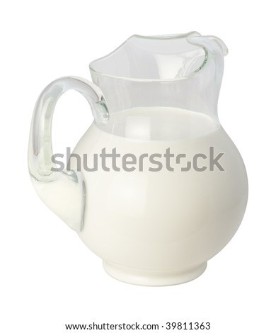 Milk Pitcher isolated with a clipping path on white