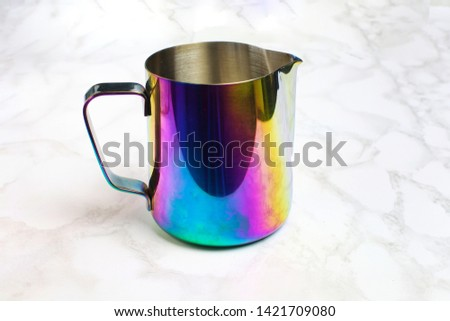milk pitcher rainbow multicolor professional for whipping and  pouring milk for coffee latte and cappuccino. Barista kit