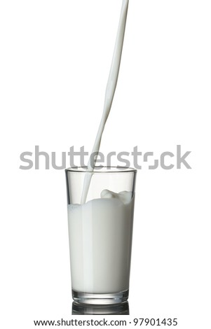 Milk pouring into the glass isolated on white - stock photo