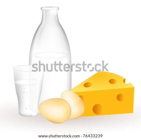 Milk products and eggs. Milk bottle, eggs and cheese.
