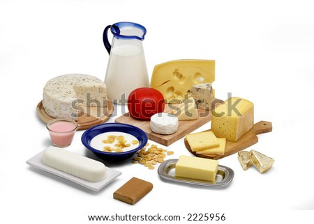 milk products isolated on white still life