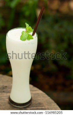 milk shake on wood table