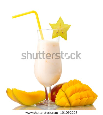 Milk shake with mango isolated on white